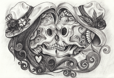 Art in love Skull Day of the dead. Hand pencil drawing on paper. Stock fotó
