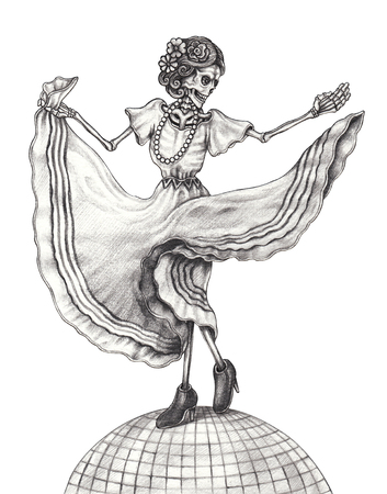 Art Women Skull Dance Day of the dead Mexican.Hand pencil drawing on paper.