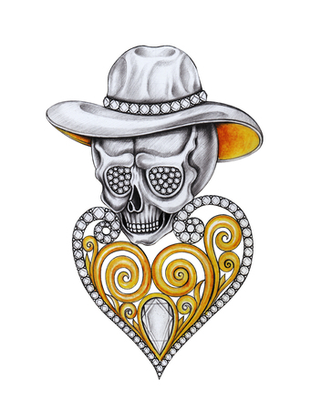 Art Vintage Heart mix Skull jewelry .Hand drawing and painting on paper. Stock Photo