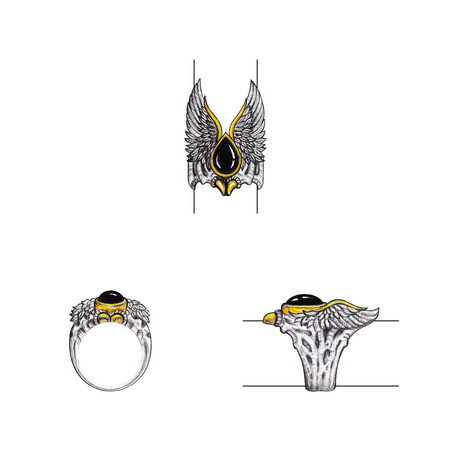 Jewelry Design Art Wings Eagle Ring. Hand drawing and painting on paper.