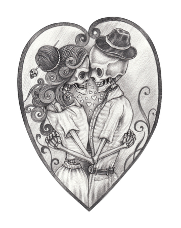 Art in love skull Day of the dead. Hand pencil drawing on paper. Foto de archivo - 104113958