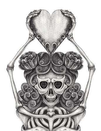 Art design Women Skull in Love Tattoo .Hand pencil drawing on paper.
