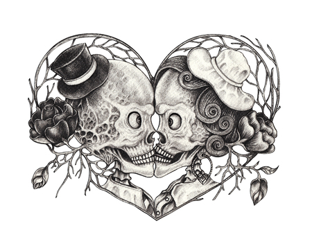 Art Surreal Couple Skull Tattoo. Hand drawing on paper. Stock Photo