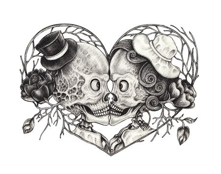 Art Surreal Paar Schädel Tattoo. Handzeichnung auf Papier.