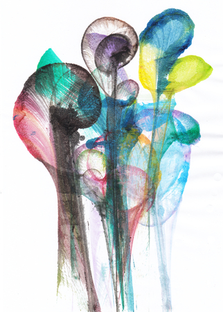 Art Abstract Flowers .Hand watercolor painting on paper. Foto de archivo - 116759475