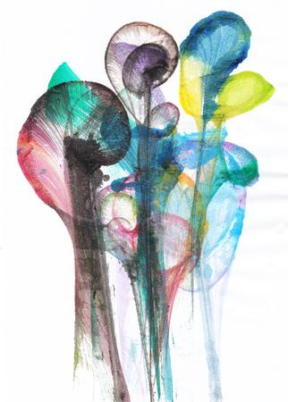 Arte Abstracto Flores. Mano acuarela sobre papel. Foto de archivo