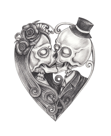 Art Couple Kiss Skulls.Hand dessin sur papier.