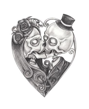 Art Couple Kiss Skulls.Hand drawing on paper.