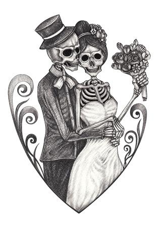Arte Pareja de novios Skulls.Hand dibujo sobre papel.