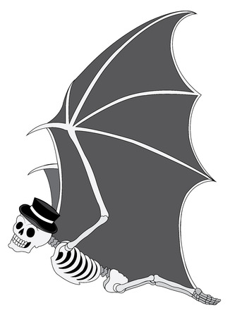 Art Surreal Bat Skull Day of the dead. Hand drawing and make graphic vector.