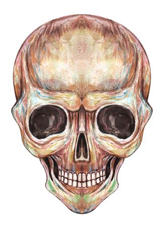 Kunst-Smiley-Gesicht-Schädel. Handaquarellmalerei auf Papier. Standard-Bild