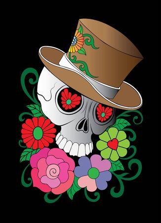 drawing  style Skull art illustration vector