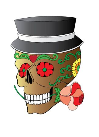 drawing  style Skull art illustration vector