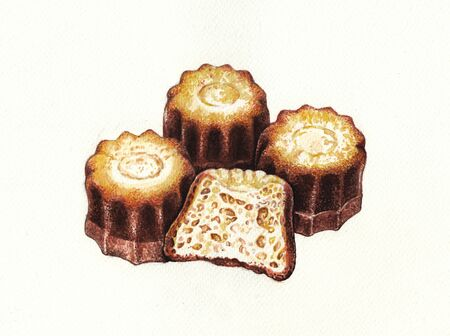 sweet food. Hand watercolor painting on paper. Standard-Bild