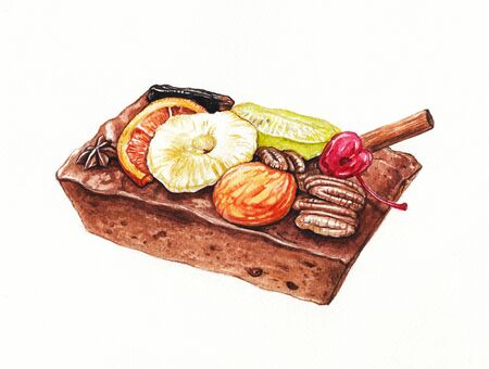 Dark rum Fruitcake. Hand watercolor painting on paper. 免版税图像