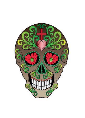 Art Sugar Skull Day of the dead. Hand drawing style vector illustration.