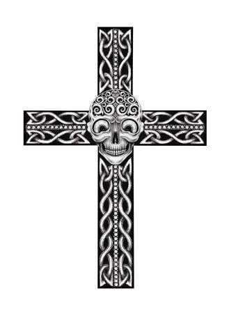Art Celtic Skull Cross Tattoo. Hand drawing on paper. Imagens