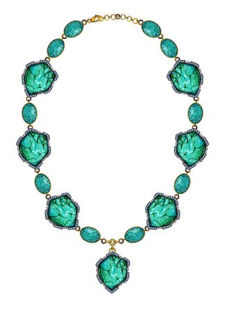 Jewellery Design Art Turquoise stone Necklace. Hand drawing and painting on paper.