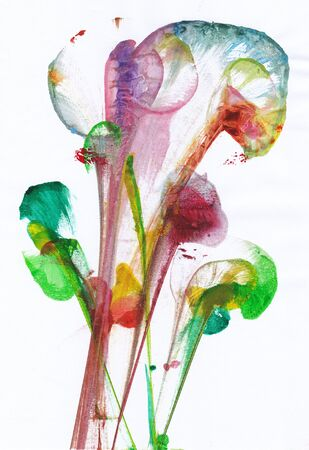 Art Abstract Flowers .Hand watercolor painting on paper.