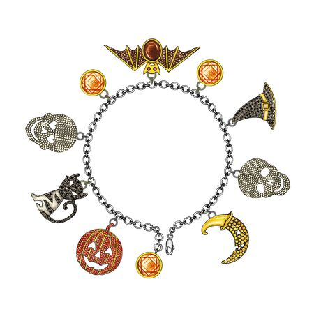 Jewelry Design Set Halloween Bracelet. Hand drawing and painting on paper.