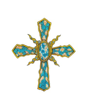 Jewelry Design  Turquoise Stone Modern Art Cross. Hand drawing and painting on paper.