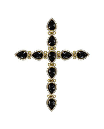 Jewelry Design Black Diamond mix Vintage Art Cross. Hand drawing and painting on paper. Stock fotó