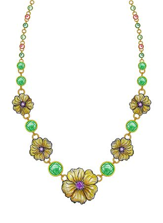 Jewelry Design Fashion Flowers Art Necklace. Hand drawing and painting on paper.