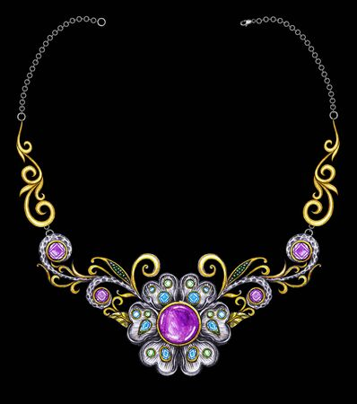 Jewelry Design Vintage mix  Fashion Flowers Art Necklace.  Hand drawing and painting on paper.