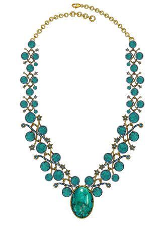 Jewelry Design Fashion Turquoise Stone Art Necklace. Hand drawing and painting on paper.