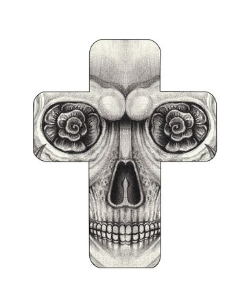 Art Skull Cross Tattoo. Hand drawing on paper. Foto de archivo