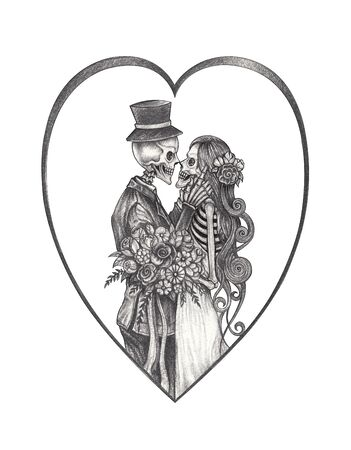 Art Couple Wedding Skulls Day of the dead. Hand drawing on paper. Foto de archivo - 134723693
