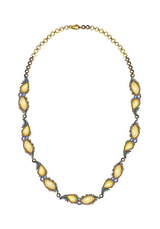 Jewelry Design Modern Art Citrine Necklace. Hand drawing and painting on paper.