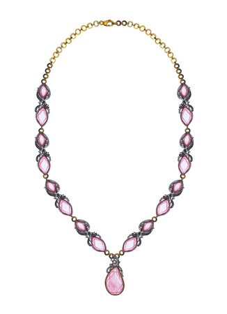 Jewelry Design Modern Art Pink Sapphire Necklace. Hand drawing and painting on paper.