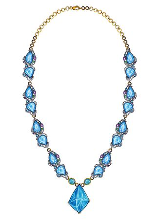 Jewelry Design Modern Art Blue Topaz Necklace. Hand drawing and painting on paper.