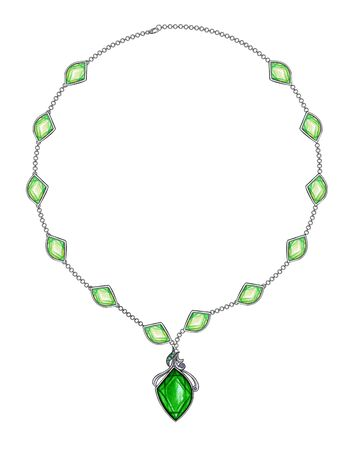 Jewelry Design Modern Art Green Sapphire Necklace. Hand drawing and painting on paper.