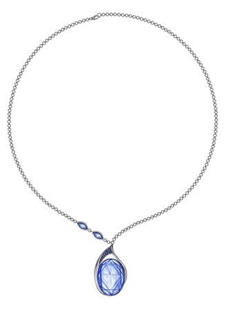 Jewelry Design Fashion Modern Art Blue Sapphire Necklace. Hand drawing and painting on paper.