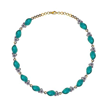 Jewelry Design Modern Art Turquoise Necklace. Hand drawing and painting on paper. Stock fotó