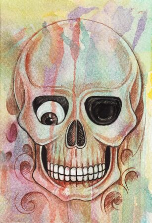 Art Design Colorful Fancy Skull.Hand watercolor painting on paper. Foto de archivo - 138376073