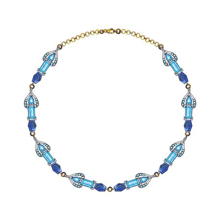 Jewelry Design Modern Art Blue Topaz And Blue Sapphire  Gems Necklace.Hand drawing and painitng on paper.