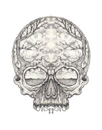 Art Surreal Skull Tattoo. Hand drawing on paper. Фото со стока