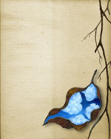 Art Surreal Nature Leaf for layout.Hand painting on canvas.