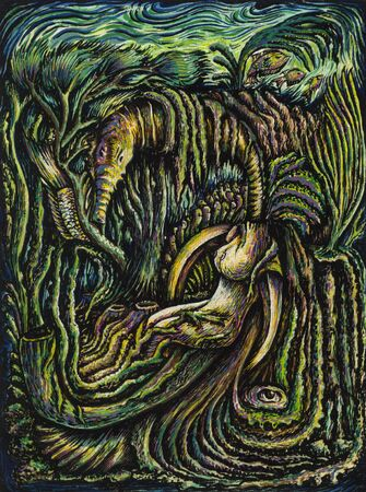 Art Surreal Fantasy Under the sea.Hand painting on paper.