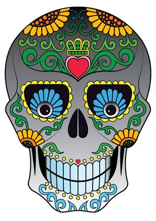Art Sugar Skull Day of the dead. Hand drawing and graphic vector. Vettoriali