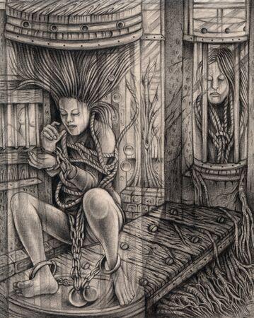 Art Surreal Bondage Human.Hand drawing on paper.