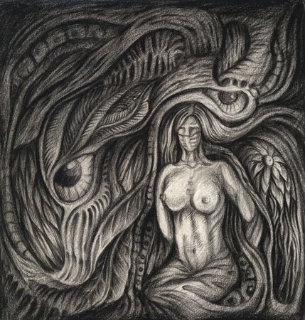 Art Surreal Nature.Hand drawing on paper.