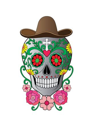Art Sugar Skull Day of the dead. Hand drawing and graphic vector.