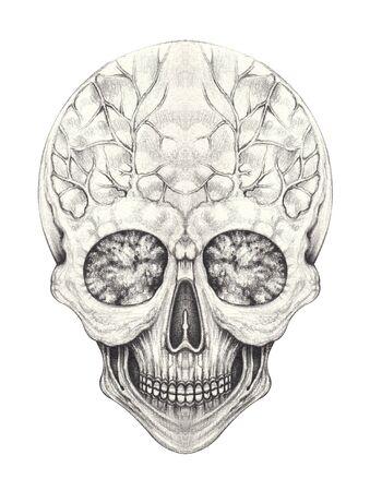 Art Surreal Skull Tattoo.Hand drawing on paper.