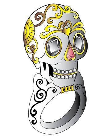 Schmuck-Design Zuckerschädel-Ring. Handzeichnung und Malerei auf Papier. Vektorgrafik