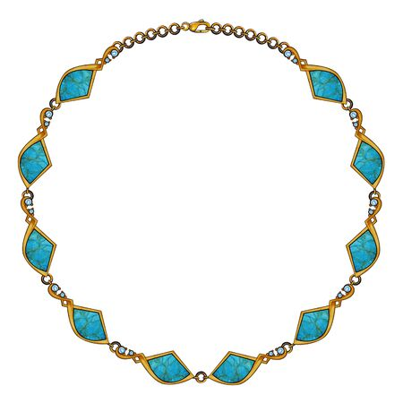 Jewelry Design Turquoise Stone Modern Art Gold Necklace. Hand drawing and painting on paper.