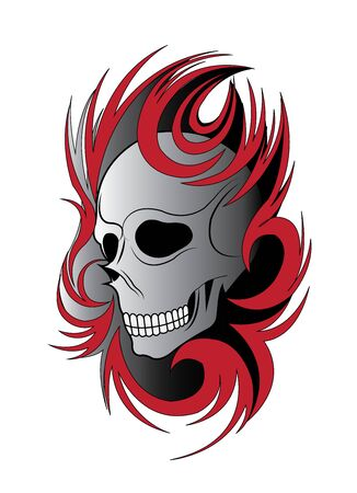 Art Skull Tattoo. Hand drawing and graphic vector.  イラスト・ベクター素材